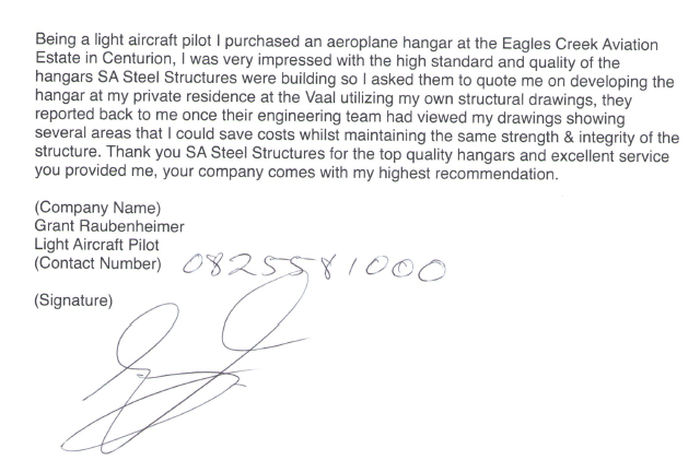 SA Steel Structures Testimonial